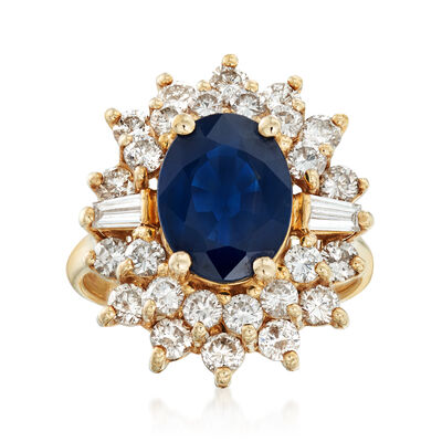 C. 1990 Vintage 3.10 Carat Sapphire and 1.40 ct. t.w. Diamond Ring in 14kt Yellow Gold, , default