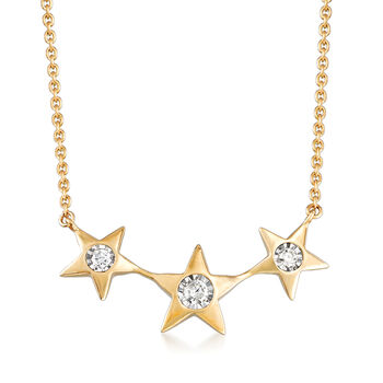 .13 ct. t.w. Diamond Star Necklace in 14kt Yellow Gold, , default