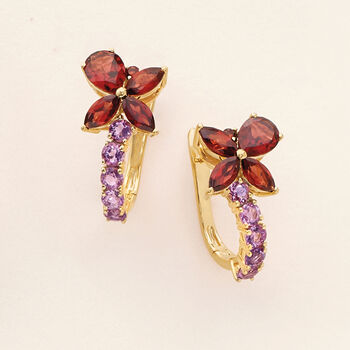 3.19 ct. t.w. Garnet and .90 ct. t.w. Amethyst Drop Earrings in 18kt Gold Over Sterling