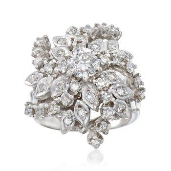 C. 1970 Vintage 1.95 ct. t.w. Diamond Swirl Ring in 14kt White Gold. Size 7, , default