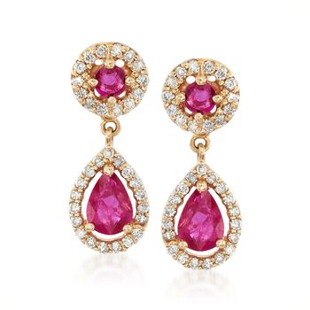 1.30 ct. t.w. Ruby and .66 ct. t.w. Diamond Drop Earrings in 14kt Yellow Gold , , default