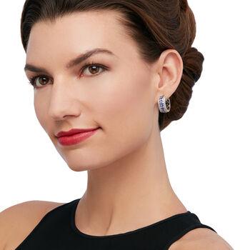 "3.00 ct. t.w. Tanzanite and .60 ct. t.w. White Zircon Hoop Earrings in Sterling Silver. 3/4"", , default"