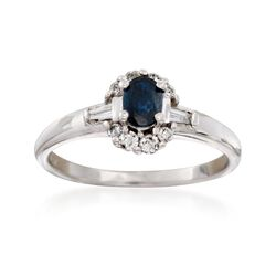 C. 1990 Vintage .25 Carat Sapphire and .25 ct. t.w. Diamond Ring in 14kt White Gold, , default