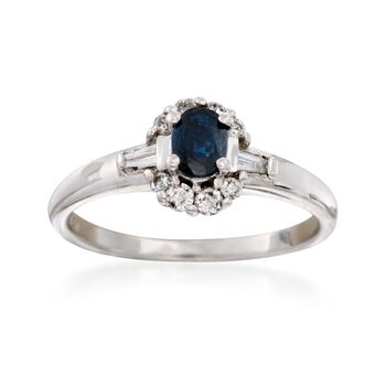 C. 1990 Vintage .25 Carat Sapphire and .25 ct. t.w. Diamond Ring in 14kt White Gold. Size 6.5, , default