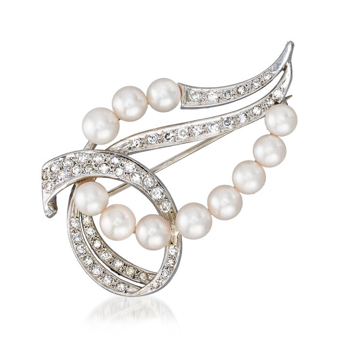 C. 1970 Vintage 4x5mm Cultured Pearl and .55 ct. t.w. Diamond Swirl Pin in 14kt White Gold