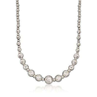 Italian Sterling Silver Diamond-Cut Bead Necklace