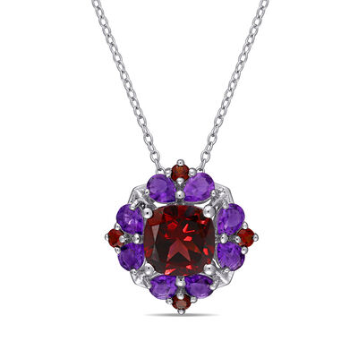 3.20 ct. t.w. Garnet and 1.10 ct. t.w. Amethyst Pendant Necklace in Sterling Silver