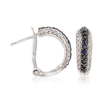 """Phillip Gavriel """"Woven"""" .70 ct. t.w. Black Sapphire Hoop Earrings in Sterling Silver. 5/8"""", , default"""