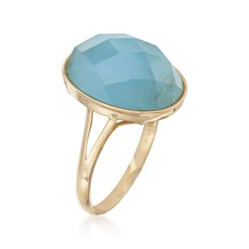 Faceted Oval Milky Aquamarine Ring in 14kt Yellow Gold, , default