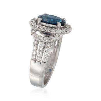 3.00 Carat Sapphire and 1.35 ct. t.w. Diamond Ring in 18kt White Gold. Size 7, , default