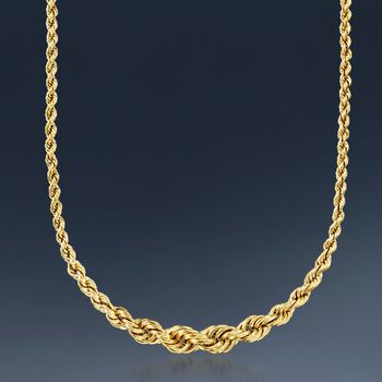 "14kt Yellow Gold Graduated Rope Chain Necklace. 17"", , default"