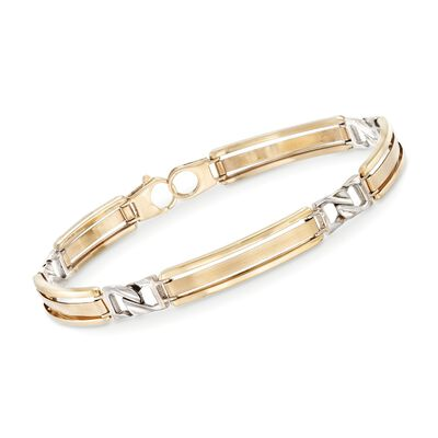 Men's 14kt Two-Tone Gold Bar Bracelet, , default