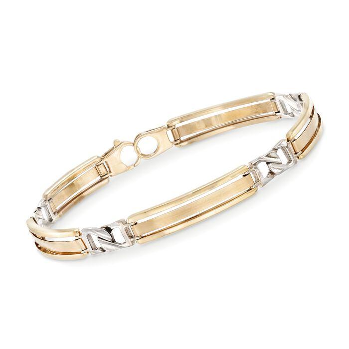 """Men's 14kt Two-Tone Gold Bar Bracelet. 8.25"""", , default"""