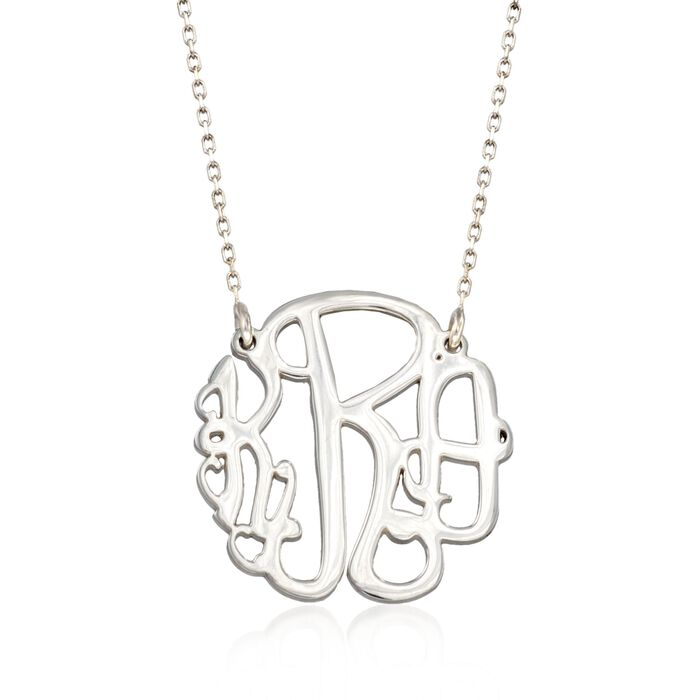 Sterling Silver Small Open Script Monogram Necklace, , default