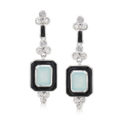 Blue Chalcedony and Black Enamel Drop Earrings with White Topaz Accents in Sterling Silver