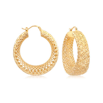 Italian 18kt Gold Over Sterling Openwork Hoop Earrings, , default