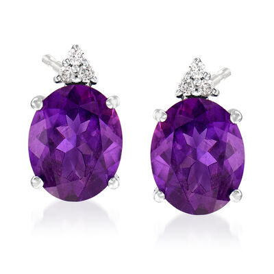 4.20 ct. t.w. Oval Amethyst and Diamond Post Earrings in 14kt White Gold, , default