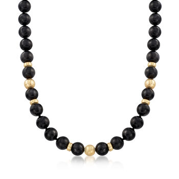 """C. 1980 Vintage Black Onyx and 14kt Yellow Gold Beaded Necklace. 15.5"""", , default"""