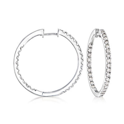 1.50 ct. t.w. Diamond Inside-Outside Hoop Earrings in 14kt White Gold