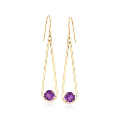 1.50 ct. t.w. Amethyst Drop Earrings in 14kt Yellow Gold