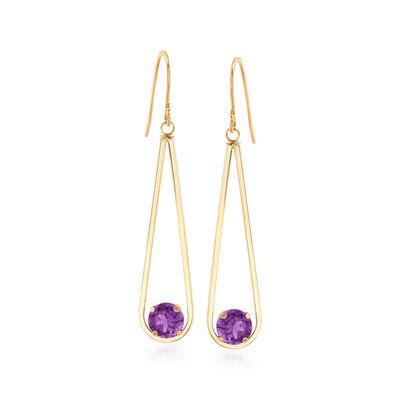 1.50 ct. t.w. Amethyst Drop Earrings in 14kt Yellow Gold, , default