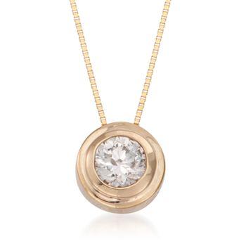 ".50 Carat Double Bezel-Set Diamond Solitaire Necklace in 14kt Yellow Gold. 18"", , default"