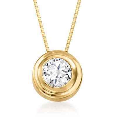 .50 Carat Double Bezel-Set Diamond Solitaire Necklace in 14kt Yellow Gold, , default