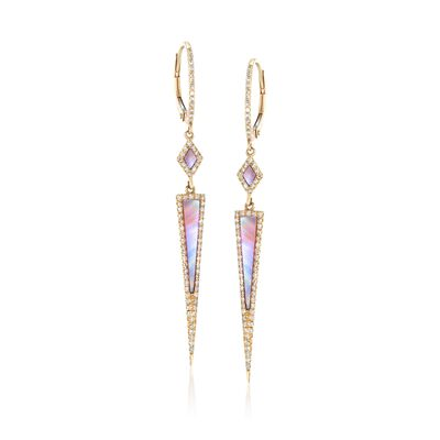 Pink Mother-Of-Pearl and .41 ct. t.w. Diamond Drop Earrings in 14kt Yellow Gold, , default