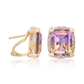 9.50 ct. t.w. Ametrine Earrings with Diamond Accents in 14kt Yellow Gold, , default