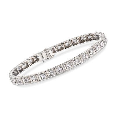 C. 1950 Vintage 4.00 ct. t.w. Diamond Tennis Bracelet in Platinum, , default