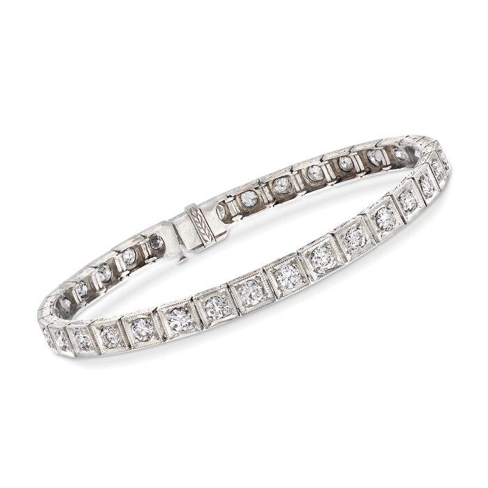 "C. 1950 Vintage 4.00 ct. t.w. Diamond Tennis Bracelet in Platinum. 6"", , default"