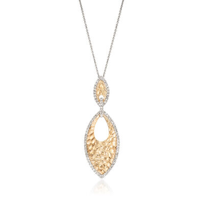 .52 ct. t.w. Diamond Marquise Texture Pendant Necklace in 14kt Two-Tone Gold, , default