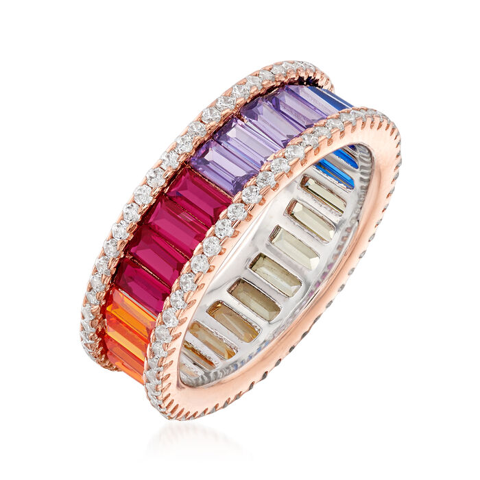 Simulated Sapphire and .80 ct. t.w. CZ Rainbow Ring in 18kt Rose Gold Over Sterling