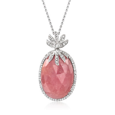 20.00 Carat Pink Sapphire and .49 ct. t.w. Diamond Pineapple Pendant Necklace in 14kt White Gold