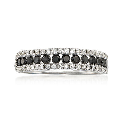 C. 1990 Vintage .65 ct. t.w. Black and White Diamond Ring in 18kt White Gold, , default