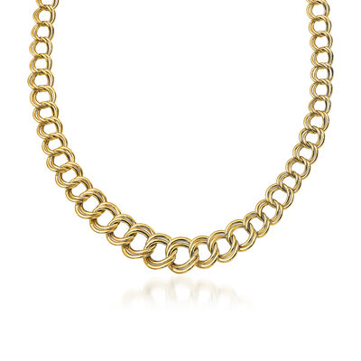 Italian 14kt Yellow Gold Graduated Double-Link Necklace, , default