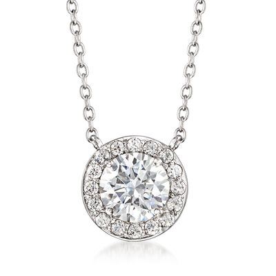 2.74 ct. t.w. CZ Halo Necklace in Sterling Silver, , default