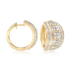 "3.00 ct. t.w. Channel-Set Diamond Hoop Earrings in 18kt Gold Over Sterling. 3/4"", , default"