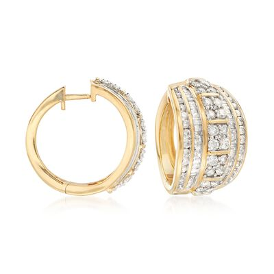 3.00 ct. t.w. Channel-Set Diamond Hoop Earrings in 18kt Gold Over Sterling, , default
