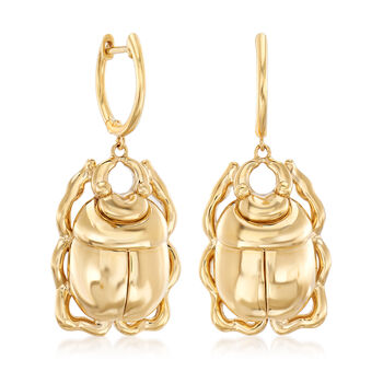 14kt Yellow Gold Scarab Beetle Drop Earrings, , default