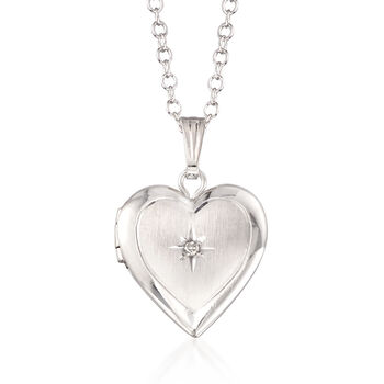 "Child's Diamond Accent Heart Locket Necklace in Sterling Silver. 15"", , default"