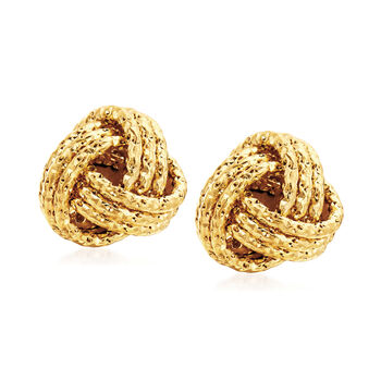Italian 14kt Yellow Gold Love Knot Jewelry Set: Necklace and Stud Earrings