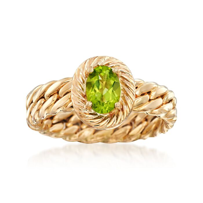 .70 Carat Peridot Curb-Link Style Ring in 14kt Yellow Gold
