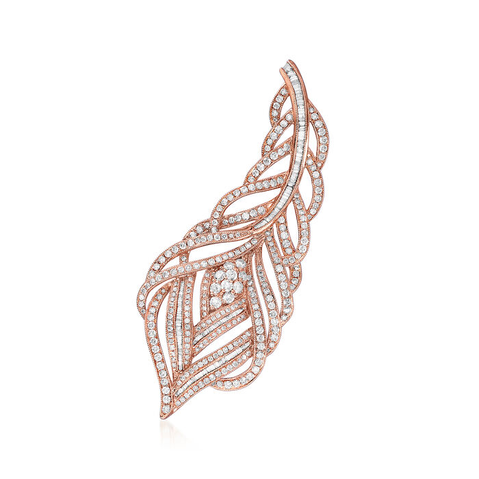 2.69 ct. t.w. Diamond Leaf Pin in 18kt Rose Gold. Pin