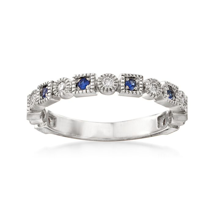 .13 ct. t.w. Diamond and .10 ct. t.w. Sapphire Milgrain Frame Ring in 14kt White Gold, , default