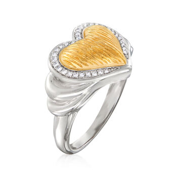 .10 ct. t.w. Diamond Heart Ring in Sterling Silver and 18kt Gold Over Sterling, , default