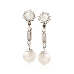 C. 1970 Vintage 6-9.5mm Cultured Pearl and 1.65 ct. t.w. Diamond Drop Earrings in 14kt White Gold , , default