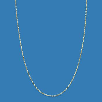 Italian .8mm 14kt Yellow Gold Adjustable Slider Cable Chain Necklace, , default