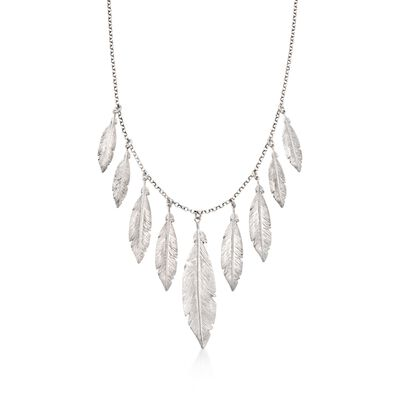 Italian Sterling Silver Feather Fringe Necklace, , default