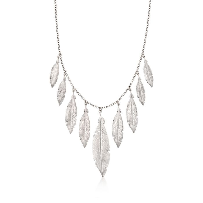 """Italian Sterling Silver Feather Fringe Necklace. 18"""", , default"""
